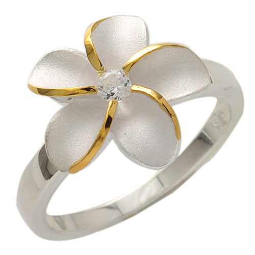 Single Plumeria Two Tone Ring 15mm - Hanalei Jeweler