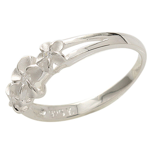 Three Plumeria 4-6-4mm Clear CZ Ring - Hanalei Jeweler