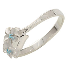 Two Plumeria(6mm) Blue CZ Ring - Hanalei Jeweler
