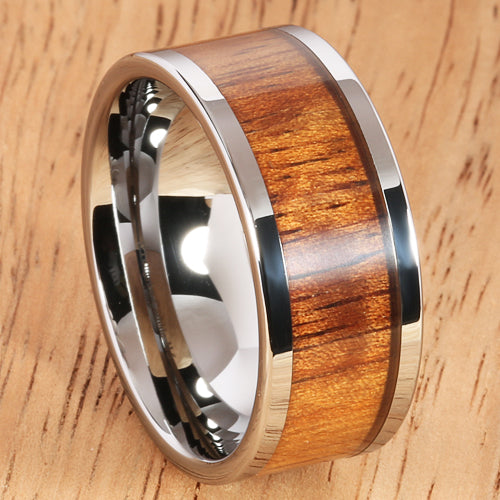 10mm Natural Hawaiian Koa Wood Inlaid Tungsten Flat Wedding Ring - Hanalei Jeweler
