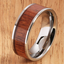 8mm Natural Hawaiian Koa Wood Inlaid Tungsten Flat Wedding Ring - Hanalei Jeweler