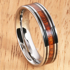 6mm Natural Hawaiian Koa Wood Inlaid Tungsten Double Line Wedding Ring - Hanalei Jeweler