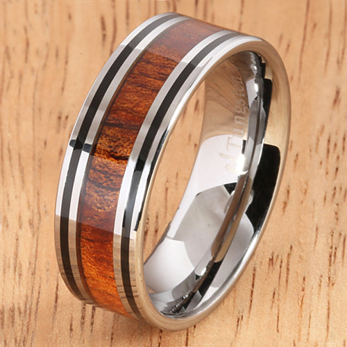 8mm Natural Hawaiian Koa Wood Inlaid Tungsten Double Line Wedding Ring - Hanalei Jeweler