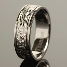 8mm Hawaiian Scroll Titanium Wedding Ring with Two Engraved Line - Hanalei Jeweler