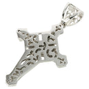 Jumbo Size CZ Inlay Rhodium Sterling Silver Cross - Hanalei Jeweler