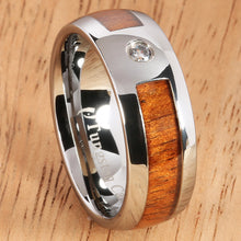 8mm Natural Hawaiian Koa Wood Inlaid Tungsten with CZ Oval Wedding Ring - Hanalei Jeweler