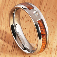 6mm Natural Hawaiian Koa Wood Inlaid Tungsten with CZ Oval Wedding Ring - Hanalei Jeweler