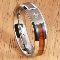 6mm Natural Hawaiian Koa Wood Inlaid Tungsten with CZ Beveled Edge Wedding Ring - Hanalei Jeweler
