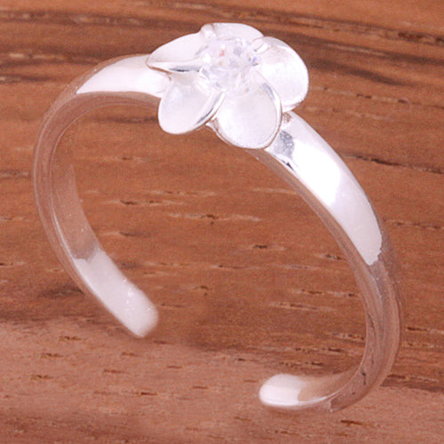 Single 4mm Plumeria with Clear CZ Toe Ring - Hanalei Jeweler