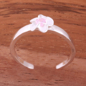 Single 4mm Plumeria with Pink CZ Toe Ring - Hanalei Jeweler