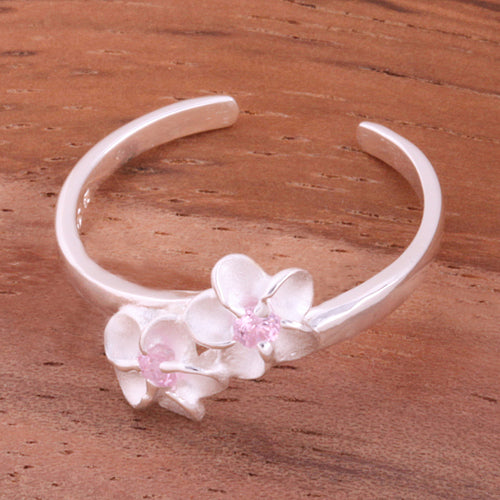 Two 4mm Plumeria with Pink CZ Toe Ring - Hanalei Jeweler