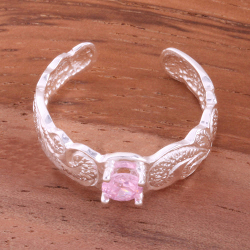 Hawaiian Scroll with Pink Round CZ Cut Out Edge Toe Ring - Hanalei Jeweler