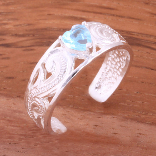 Hawaiian Scroll See Through with Blue Heart CZ Toe Ring - Hanalei Jeweler