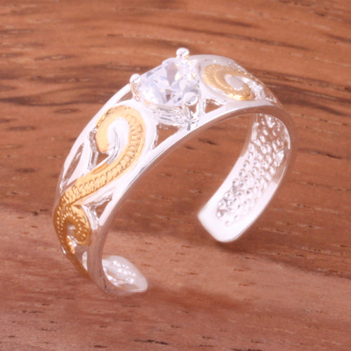 Hawaiian Scroll See Through Two Tone Yellow Gold Plated with Clear Heart CZ Toe Ring - Hanalei Jeweler