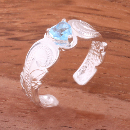 Hawaiian Scroll with Blue Heart CZ Cut Out Edge Toe Ring - Hanalei Jeweler