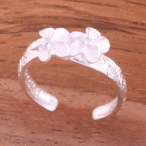Hawaiian Scroll Two 6mm Plumeria with Clear CZ Smooth Edge Toe Ring - Hanalei Jeweler