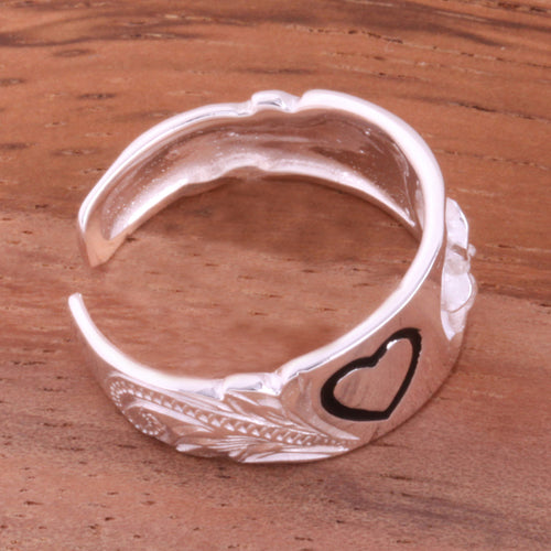 Hawaiian Scroll 6mm Plumeria and Heart Toe Ring - Hanalei Jeweler