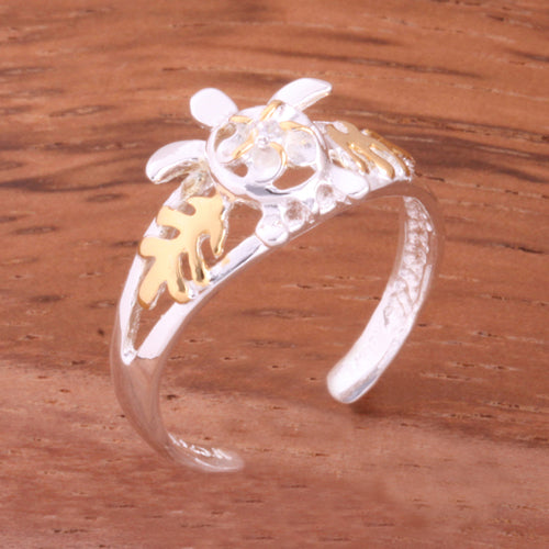 Two Tone Yellow Gold Plated Honu and Plumeria with Clear CZ Toe Ring - Hanalei Jeweler