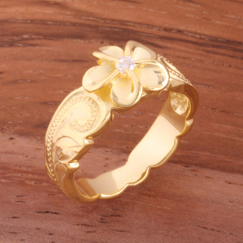 Hawaiian Scroll Yellow Gold Plated 8mm Plumeria with Clear CZ Cut Out Edge Toe Ring - Hanalei Jeweler