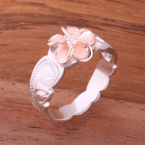 Hawaiian Scroll Two Tone Pink Gold Plated 8mm Plumeria with Clear CZ Cut Out Toe Edge Ring - Hanalei Jeweler