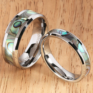 8mm Abalone Shell Inlaid Tungsten Beveled Edge Wedding Ring - Hanalei Jeweler
