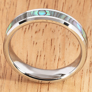 5mm Abalone Shell Inlaid Tungsten Beveled Edge Wedding Ring - Hanalei Jeweler