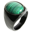 Black Tungsten Carbide Malachite Ring Oval Shape - Hanalei Jeweler