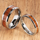 8mm Natural Hawaiian Koa Wood Inlaid Tungsten Beveled Edge Wedding Ring - Hanalei Jeweler