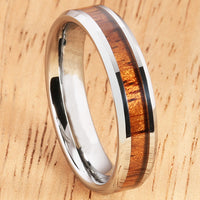 5mm Natural Hawaiian Koa Wood Inlaid Tungsten Beveled Edge Wedding Ring - Hanalei Jeweler