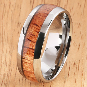 8mm Natural Hawaiian Koa Wood Inlaid Tungsten Oval Wedding Ring - Hanalei Jeweler