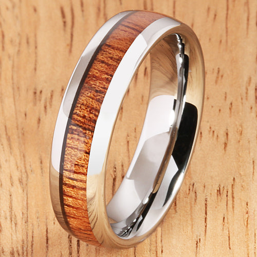 6mm Natural Hawaiian Koa Wood Inlaid Tungsten Oval Wedding Ring - Hanalei Jeweler