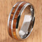 8mm Natural Hawaiian Koa Wood Inlaid Tungsten Double Row Wedding Ring - Hanalei Jeweler