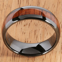 8mm Natural Hawaiian Koa Wood Inlaid High Tech Black Ceramic Oval Wedding Ring - Hanalei Jeweler