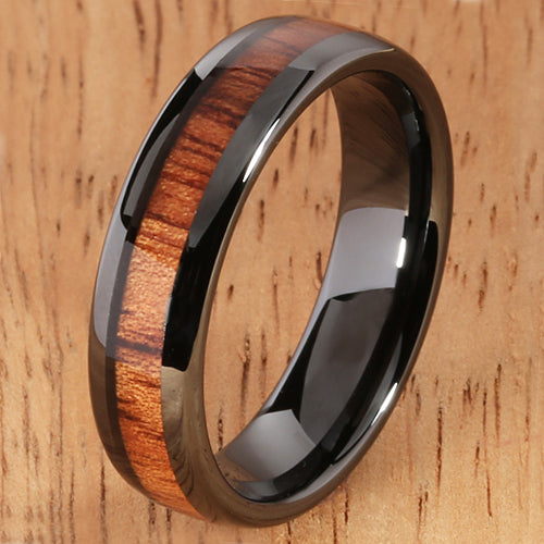 6mm Natural Hawaiian Koa Wood Inlaid High Tech Black Ceramic Oval Wedding Ring - Hanalei Jeweler