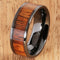 8mm Natural Hawaiian Koa Wood Inlaid High Tech Black Ceramic Flat Wedding Ring - Hanalei Jeweler