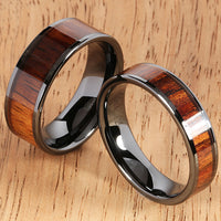 6mm Natural Hawaiian Koa Wood Inlaid High Tech Black Ceramic Flat Wedding Ring - Hanalei Jeweler