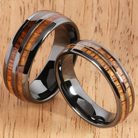 6mm Natural Hawaiian Koa Wood Inlaid High Tech Black Ceramic Double Row Wedding Ring - Hanalei Jeweler