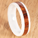 6mm Natural Hawaiian Koa Wood Inlaid High Tech White Ceramic Oval Wedding Ring - Hanalei Jeweler