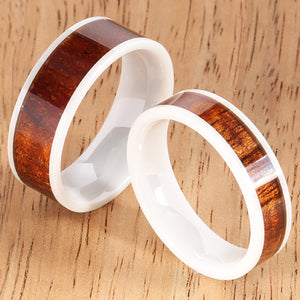 6mm Natural Hawaiian Koa Wood Inlaid High Tech White Ceramic Flat Wedding Ring - Hanalei Jeweler