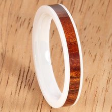 4mm Natural Hawaiian Koa Wood Inlaid High Tech White Ceramic Flat Wedding Ring - Hanalei Jeweler