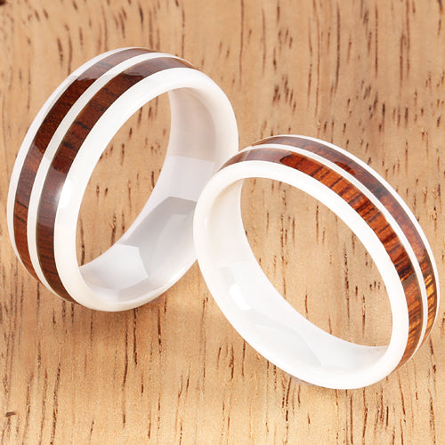 8mm Natural Hawaiian Koa Wood Inlaid High Tech White Ceramic Double Row Wedding Ring - Hanalei Jeweler