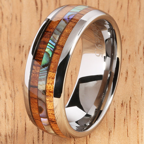 Koa Wood Abalone Tungsten Two Tone Wedding Ring Central Abalone 8mm - Hanalei Jeweler