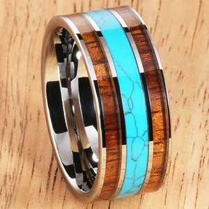 Koa Wood Turquoise Wedding Ring Flat Mens Ring 10mm Flat Shape Hawaiian Ring - Hanalei Jeweler