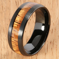 Black Tungsten Natural Hawaiian Koa Wood Inlaid Mens Wedding Ring Barrel 8mm Hawaiian Ring