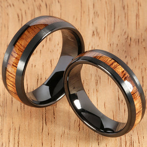 Black Tungsten Natural Hawaiian Koa Wood Inlaid Mens Wedding Ring Barrel 8mm Hawaiian Ring - Hanalei Jeweler
