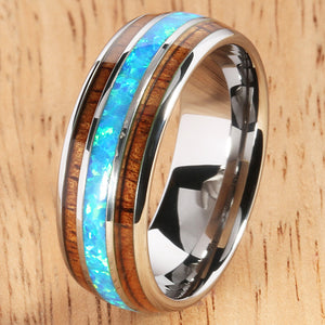 Koa Wood Opal Tungsten Wedding Ring 8mm Triple Row Men's Ring - Hanalei Jeweler