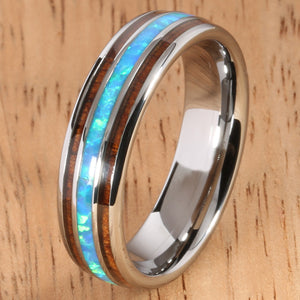 Koa Wood Opal Tungsten Two Tone Wedding Ring Triple-row Center Opal 6mm Barrel Shape Hawaiian Ring - Hanalei Jeweler