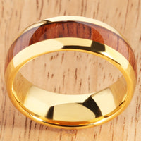 Yellow Gold Tungsten Natural Hawaiian Koa Wood Inlay Mens Wedding Ring Dome Shape 8mm Hawaiian Ring - Hanalei Jeweler