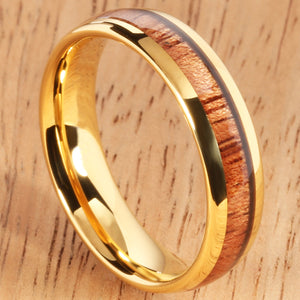 Yellow Gold Tungsten Natural Hawaiian Koa Wood Inlay Tungsten Dome Wedding Ring 6mm - Hanalei Jeweler