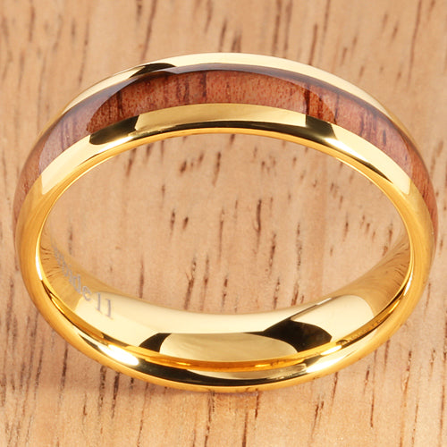 A Pair of Yellow Gold Tungsten Natural Hawaiian Koa Wood Inlay Mens Wedding Ring Dome Shape 8mm and 6mm - Hanalei Jeweler